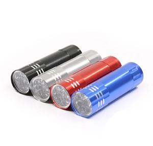 9LED Lanternas de alumínio UV Violet tocha luz portátil Mini CREE Lanterna Tocha Luzes tochas anel chaveiro luz ao ar livre caminhadas