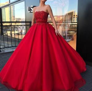 2020 Red Prom Dresses perline merletto Appliqued senza spalline in raso da sera convenzionale degli abiti di lunghezza del pavimento di cerimonia Custom Made Party Dress