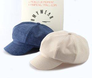 Designer octogonal Hat Femme Coton réglable et lin petit parfum vent Beret avec Brim mince Section Peintre Chapeau Femme