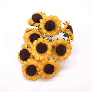 인공 해바라기 꽃 시뮬레이션 용지 어두운 색 빛 색상 작은 데이지 장식 꽃 DIY 파티 액세서리 화환