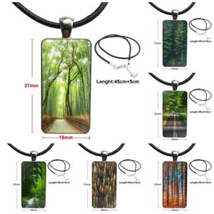 Kunst Simple Green Forest Road Tall Trees Glas Anhänger Halskette handgemachte Halb Anhänger Rechteck-Halskette für Kind