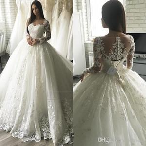 Robes de mariée en dentelle élégante robe de bal Illusion décolleté manches longues robe de mariée robes de mariée pure perle appliques robes de soirée