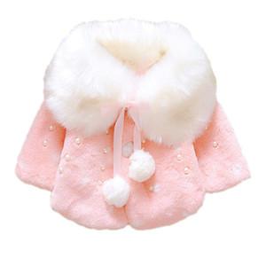 Güzel Kış Bebek Kız Kürk Fleece İmitasyon İnci Prenses Kabanlar sıcak Coat Yaka Yaka Noel Çocuk Bebek Cloak Cape