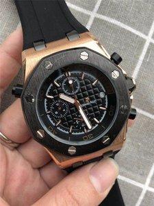 mens luxo Top moda relógios Full-Function real relógio Audemars carvalho P Silicone Strap suíço data dia relógio relógios montres pour hommes