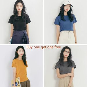 (Buy one get one free) 2019 summer new Korean version of the round neck short-sleeved solid color T-shirt women's clothing