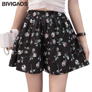 BIVIGAOS Summer New Women's Printed Chiffon Shorts High Waist Loose Skirt Shorts Korean Casual Wide Leg Shorts Women Clothing T200701