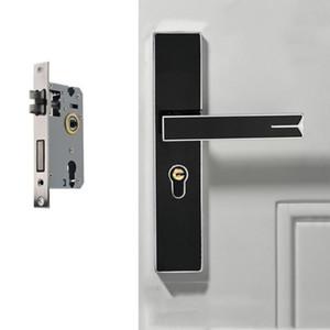 Silencio magnético fuerte de aleación de aluminio interior bloqueo de la puerta manija de puerta del dormitorio de hardware Lock, Color: Negro de plata grande 50 cuerpo de la cerradura