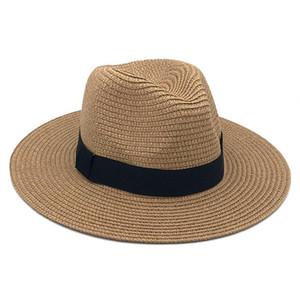 Femme Vintage Panama Hat Hommes Straw Fedora Sunhat Femmes Summer Beach Sun Visor Cap Chapeau Cool Jazz Trilby Cap Sombrero