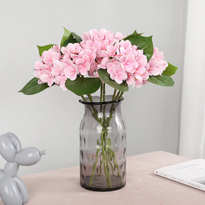 الحرير Hydrange زهور اصطناعية باقة للديكور المنزل طويل الجذعية وهمية الزهور في زهرية الديكور الزفاف للجدول