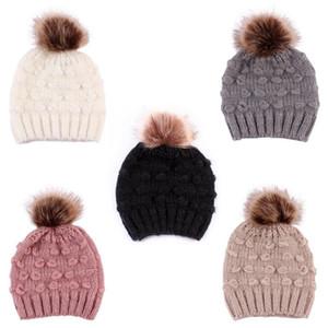 Quente bonito da criança Crianças Chapéus Meninas Baby Boy Inverno Crochet Knit Hat Beanie 2019 Fur Cap Crianças Caps Crianças Caps inverno