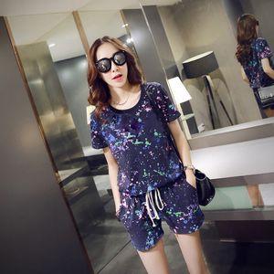 Two Piece Sets M-2XL Short Sleeve Top +Elastic Waist Shorts Summer Print Women Set Fashion O-Neck Blue White Casual Female Sets