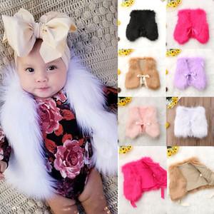 Bebé recién nacido princesa caliente del invierno de la capa del chaleco de las muchachas de piel prendas de vestir exteriores de la chaqueta del botón