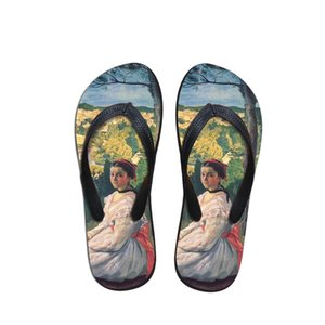New Style Art Painting 2019 Female flip flops Soft casual Vogue shoes Women summer outdoor indoor sandals slippers beach shoes