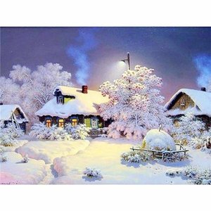 Full square   round diamond embroidery 5D DIY diamond painting Snow scene 3D cross stitch 5D home decoration gift