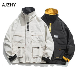 Autumn Winter Fashion Windbreaker Jackets Coats Men Plaid Hip Hop Streetwear Winter Autumn Cargo Casual Pockets Coat Factory