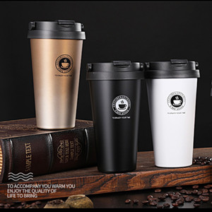 Factory Price 500ML 304 stainless steel coffee cup portable lifting ring gradient color double vacuum coffee Tumbler custom logo T2703