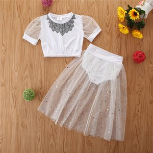Small Girl's Set T-shirt+skirt Pant Short Sleeve Summer Kids 2pcs Set Fashion Casual Children Suits 90 100 110 120 130