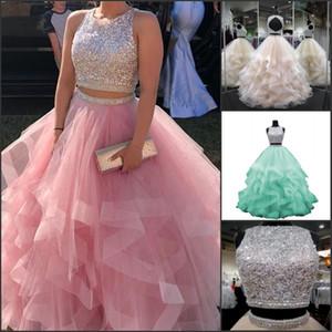 Robe de bal de balle à deux pièces Quinceanera Pal Robes Cristal Perlé Luxury Luxury Luxury Luxury Tulle Sweet 16 Robes Vestidos de 15 Anos Robe de fête