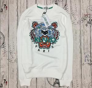 Hot European Brand Tiger Head maglione Paris Felpe ricamate con cappuccio in cotone puro spugna a manica lunga felpe con lettere originali