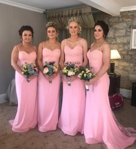 Cheap Pink Long Bridesmaids Dresses 2020 Beaded Lace Applique Maid of Honor Dresses Junior Country Prom Gowns