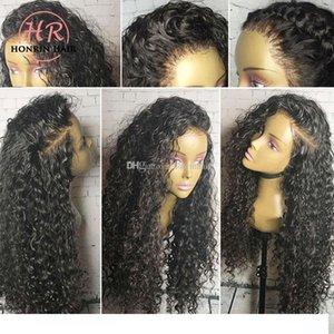 L Honrin волос 360 парики шнурка Deep завитые Pre щипковых Hairline малазийский Девы человеческих волос курчавый полный парики шнурка 150% Плотность Lace Front Wi