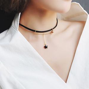 DoreenBeads Moda Yeni Vintage Seksi Siyah Yıldız Gerdanlık Gotik Klaviküler zincir Kolye Pentagram Kolye Charm Kolye, 1 ADET
