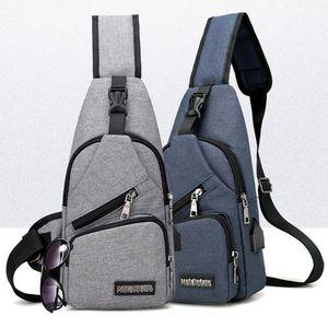 Дизайнерская мужская USB сумка для груди Сумка для ремня Сумка большой емкости Сумки через плечо Сумка через плечо Зарядное устройство Сумки на плечо 6 цветов OOA3309