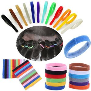 ID filhote de cachorro Collar Identificação Coleiras Banda ID para gatinho Whelp filhote de cachorro gato de estimação de veludo práticos 12 cores