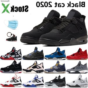 Black Cat 2020 4 4s New Jumpman basketball shoes bred wings encore fire red singles white cement tattoo mens designer sneakers with mask