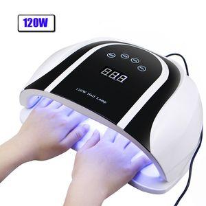 Pro 120W UV Lamp LED Nail Lamp High Power For Nails All Gel Polish Nail Dryer Auto Sensor Sun Led Light Nail Art Manicure Tools CY200512