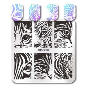 BORN prego quadrado bonito Stamping Template Cat Tiger Folha Geometria Stripes animal Manicure Prego Placa Art Imagem