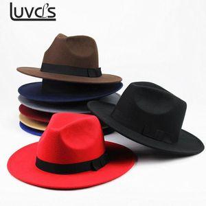 Nouveau chapeau de laine Boater plat pour les femmes en feutre bord large Fedora Hat Laday Prok Tarte Chapeu de Feltro Bowler Gambler Top