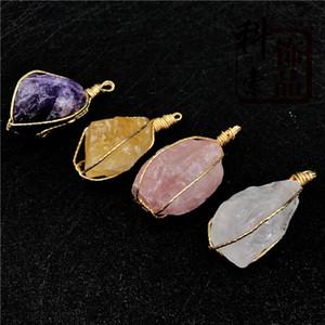 Kristallstein Druzy Achat Anhänger 4Colors mit vergoldetem Messing natürlichen unregelmäßigen Naturstein Anhängern für Männer Frauen Fashion Jewelry