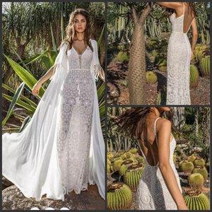 2019 robes de mariée sirène Asaf Dadush avec Wrap Jacket Vintage crochet dentelle spaghetti dos nu plage vacances Boho trompette robe de mariée