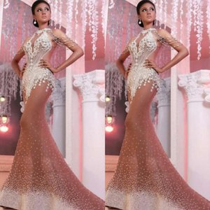 vestidos de noche Rapho Ziad desnuda Elie Saab Yousef aijasmi 2020 sirena fuera del hombro de la borla de plata Cristales de Zuhair Murad Prom Vestidos