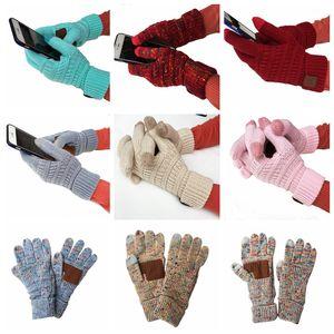 Knitting Touch Screen Glove Capacitive Gloves Women Winter Warm Wool Gloves Antiskid Knitted Telefingers Glove Christmas Gifts LJJA3181
