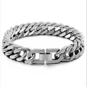 acciaio inox argento CXQNEWA Uomini sicurezza catena fibbia braccialetto 10mm largo della mano della fascia di polso maschile gioielli in oro Braslet Punk regalo