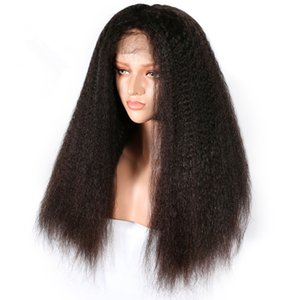 Full Lace Kinky Straight Human Hair Wig 180 density For Women Brazilian Remy Natural Color Human Hair