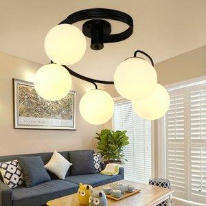 Nordic Modern Pendant luzes criativa de metal Pendure Lamp E27 decoração lâmpada para sala de estar Bola de vidro Forma luminária