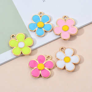 Charms Pendant 10PCS Lot Five Petals Flower Two-Sided Enamel Gold Color Alloy Metal For DIY Earring Necklace Jewelry Findings Making