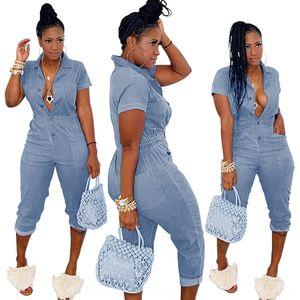 WY6662 women's body jumpsuit sexy twisted buckle semi-elastic waist conjoined Capri pants jumpsuit pants