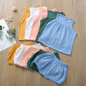 Ins Kind-Mädchen-Jungen-Kleidung stellte Sommer Klage-Weste PP Shorts 2pcs / set Pyjamas 2020 Neue 5 Farben