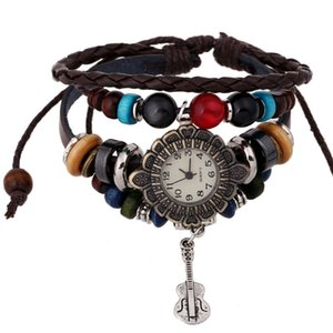 Guitar factory direct reply ancient leather bracelet watch leather bracelet watch girls beaded jewelry designer watches