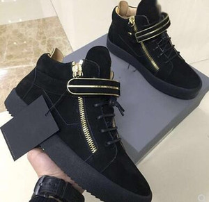 Uomo Donna CALDO Marca Sneakers moda in vera pelle di coccodrillo coccodrillo doppia cerniera laterale Decorazione in metallo Scarpe basse misure 35-47