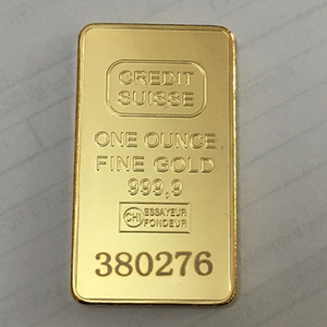 10 Stück Non Magnetic CREDIT SUISSE Barren 1 Unze Gold überzogenes Bullion Bar Schweizeres Souvenir Münze Geschenk 50 x 28 mm mit unterschiedlicher Seriennummer Laser