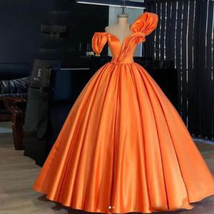 Красочные простой оранжевый Quinceanera платья бальное платье плиссированные рябить с плеча младший выпускного вечера вечерние платья плюс размер материнства носит