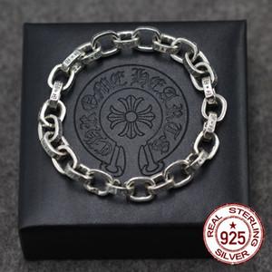 S925 pulsera de plata esterlina personalizada moda joyería clásica vintage letras dominantes pareja punk hip hop estilo caliente
