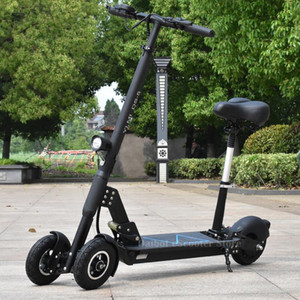 세 바퀴 전기 세발 자전거 8 인치 3 바퀴 전기 좌석 최대 범위 50KM 48V 500W 접이식 킥 전기 스쿠터 자전거
