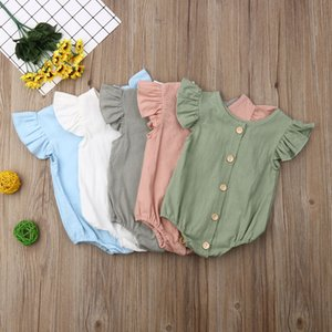 2020 Baby Summer Clothing Infants Baby Girls Boys Bodysuits Pure Color Ruffles Fly Short Sleeve Jumpsuit Clothes Tops Playsuits