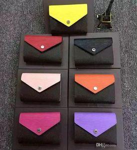 Portafoglio design in pelle multicolor portamonete portafoglio corto Portafoglio donna policromatico Portacarte classico mini tasca con cerniera